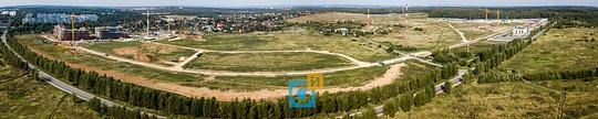 Панорама строительства вЛайково состороны дороги, Строительство «Лайково город-события» (состояние на12.09.2017)