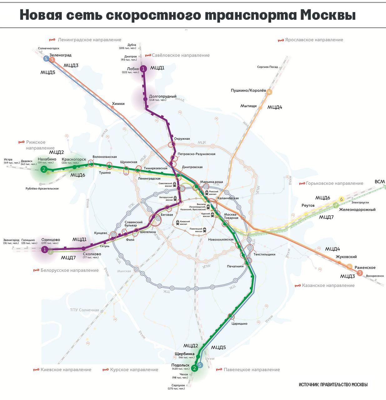 Схема линий скоростного транспорта москвы 2017