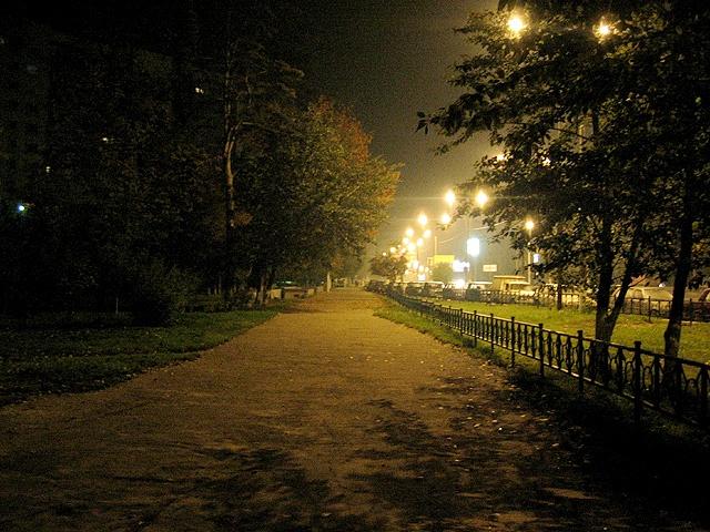 Ночь 2 улица осень фонари свет фонарь